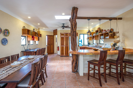 Second floor dining room of Villa Luminosa vacation rental villa south of Akumal Mexico