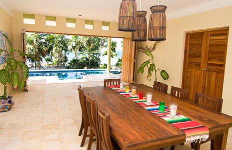 Courtyard dining room of Villa Luminosa vacation rental villa south of Akumal Mexico