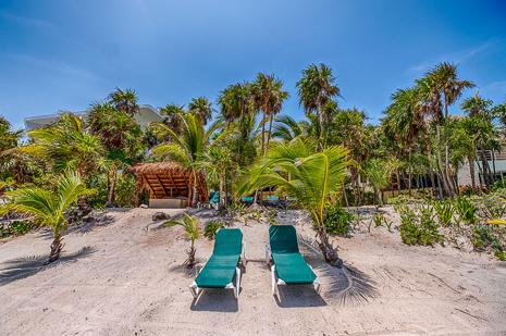 Hammock awaits at Villa  Luminosa vacation rental villa on Tankah Bay, south of Akumal on Riviera Maya
