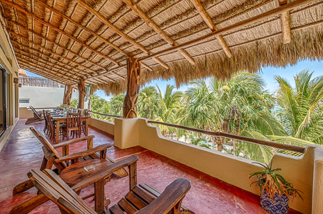 Oceanview patio of Villa Luminosa vacation rental villa south of Akumal Mexico