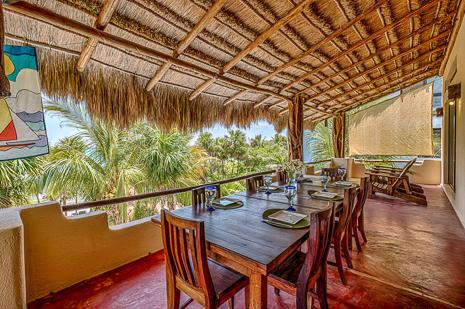 Patio dining  room of Villa Luminosa vacation rental villa south of Akumal Mexico