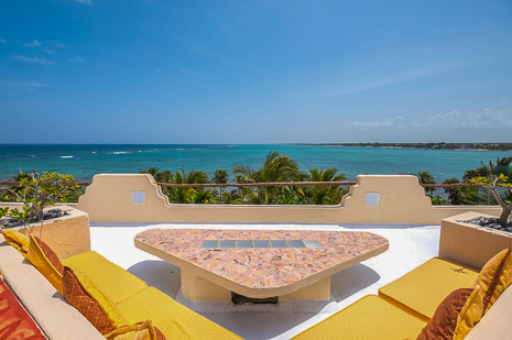 Rooftop views of Tankah Bay  from  Villa Luminosa vacation rental villa south of Akumal Mexico