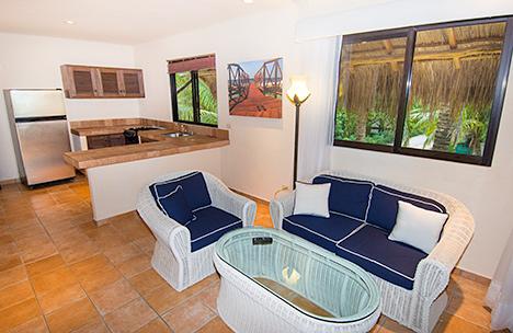 Casita living room at Casa Magica vacation villa on Jade Bay