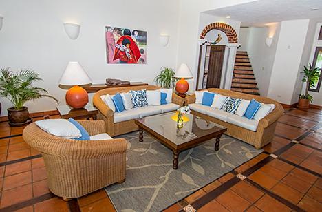 Living room at Casa Magica 5 BR luxury vacation villa on Jade Bay