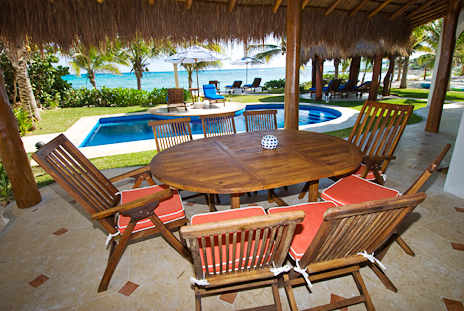 Poolside patio at Casa Magica  on Jade Bay