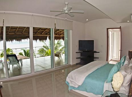 Bedroom #1 in Villa Mandala has views of the Caribbean