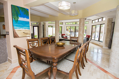 Dining room Villa Marcaribe vacation rental villa on Soliman Bay south of Akumal