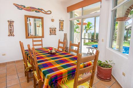 Dining room at Villa Margaraita vacation rental home on Jade Beach south of Akumal