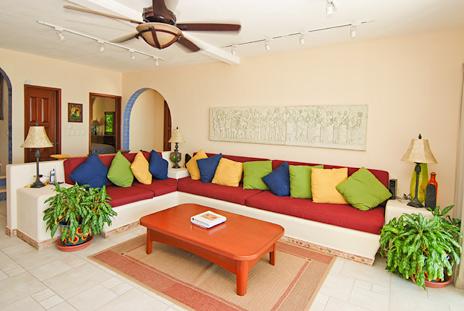 Sliding glass doors from the living room to the patio Villa Margaraita vacation rental villa