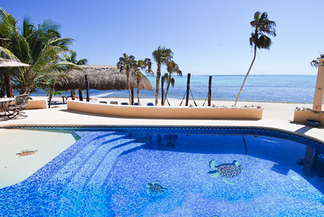 Beachfront swimming pool at Villa Margarita rental villa on Soliman Bay, Riviera Maya, Mexico