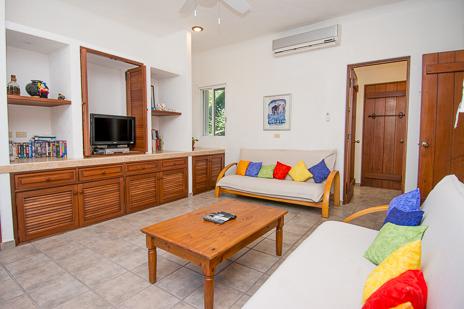 TV room at Villa Margaraita vacation rental villa south of Akumal on the Riviera Maya