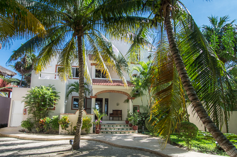 Front view of Villa Margaraita vacation rental villa on Jade Beach south of Akumal on the Riviera Maya