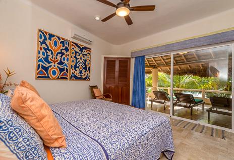 Bedroom of Villa Moonstar luxury villa on Soliman Bay, Riviera Maya, Mexico