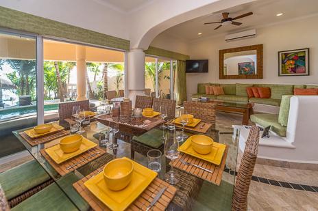 Dining room of Villa Moonstar luxury villa on Soliman Bay, Riviera Maya, Mexico