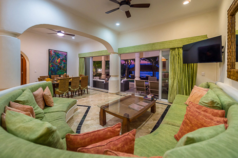 Living room of Villa Moonstar vacation rental property on Soliman Bay Riviera Maya