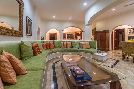 Living room of Villa Moonstar vacation rental property on Soliman Bay Riviera Maya