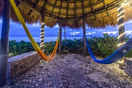 Hammocks under the palapa at Villa Nicte Ha rental property in Akumal