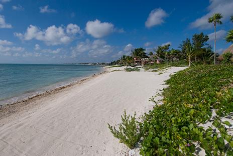Beach in front of Villa Orquidea luxury vacation rental villa on Tankah Bay, south of Akumal on the Riviera Maya