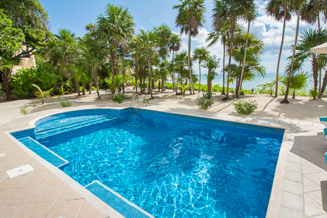 Swimming pool at Villa Orquidea luxury vacation rental villa on Tankah Bay, south of Akumal on the Riviera Maya