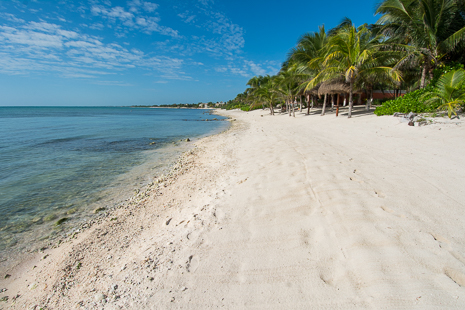 Beach in front of Villa Orquidea luxury vacation rental villa on Tankah Bay, south of Akumal on the Riviera Maya