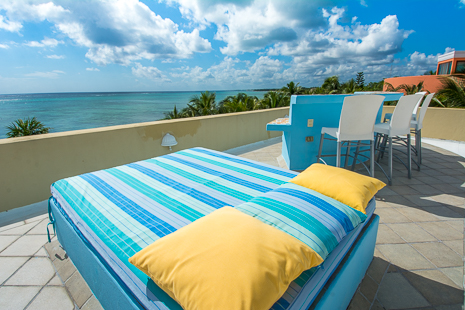 Also on the rooftop of Villa Orquidea vacation rental villa in Tankah is this bed, perfect for tanning or stargazing