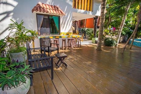 Garden patio at Villa Palmeras Soliman vacation rental home on Riviera Maya