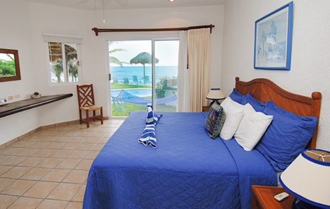 Bedroom of Villa Palmeras vacation rental home on Jade Beach