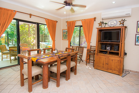 Dining room at Villa Palmeras Soliman vacation rental home on Soliman Bay