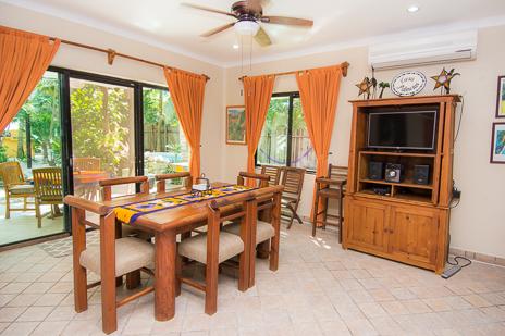 Dining room at Villa Palmeras Soliman vacation rental home on Soliman Bay
