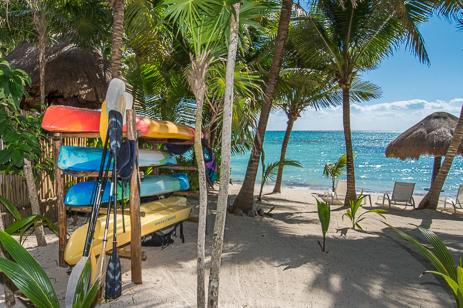 Sea kayaks at Villa Palmeras Soliman vacation rental casa
