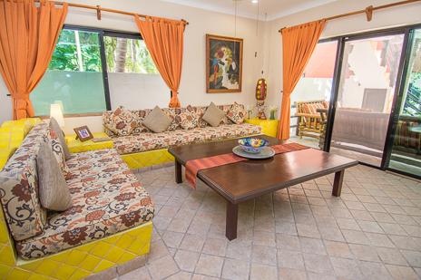 Livingroom at Villa Palmeras Soliman vacation rental home south of Akumal