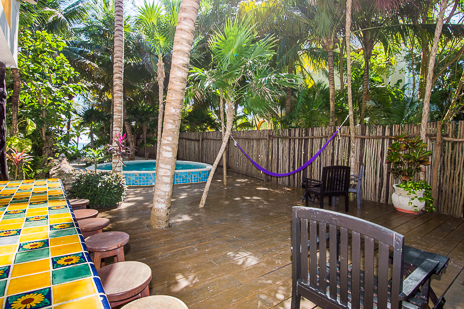 Garden patio near the pool at Villa Palmeras Soliman vacation rental home