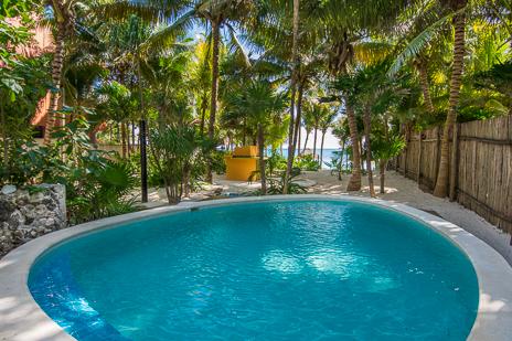 Garden swimming pool  at Villa Palmeras Soliman vacation rental property