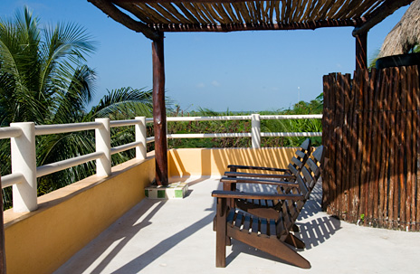 Rooftop patio at Villa Palmeras Soliman vacation rental villa on Soliman Bay