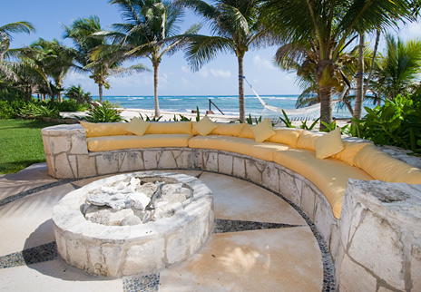 Outdoor living area at Villa Palmilla luxury Akumal vacation rental home
