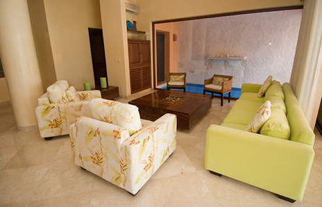 living room at villa palmilla luxury akumal vacation rental property