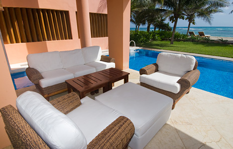 Poolside patio at Villa Palmilla luxury vacation rental villa near Akumal