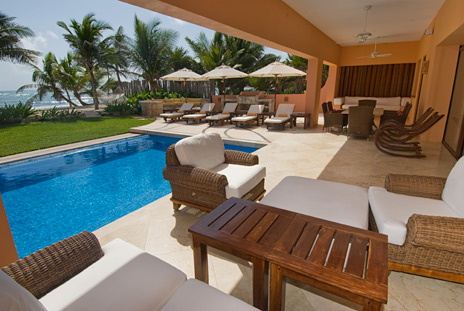 Another poolside patio at Villa Palmilla on Jade Beach, vacation rental villa