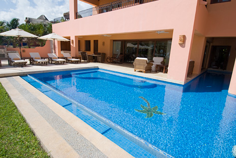 Pool and lap pool at VIlla Palmilla luxury rental villa on Jade Beach
