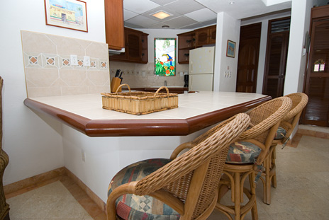Breakfast bar of Playa Caribe #10 Akumal vacation rental condo on Half Moon Bay