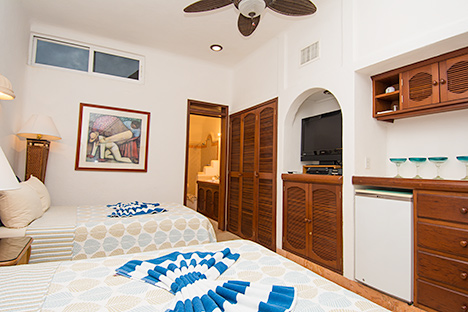 Bedroom of Playa Caribe #10 Akumal vacation rental condo on Half Moon Bay