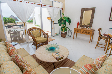 living room of playa caribe akumal vacation rental condo