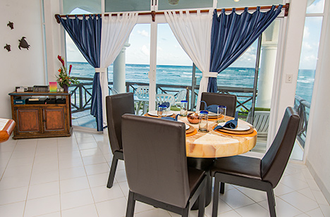 Dining area of Playa Caribe #5, Akumal vacation rental villa on Half Moon Bay