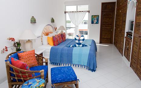 Bedroom #1 at Playa Caribe #6 Akumal vacation rental condo on Half Moon Bay