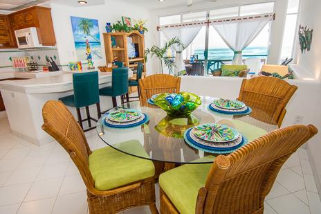 Dining area  of Playa Caribe #6 Akumal vacation rental condo on Half Moon Bay