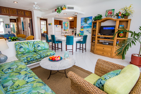 Living room of Playa Caribe #6 Akumal vacation rental condo