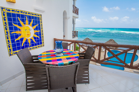 Patio of Playa Caribe #6 Akumal vacation rental condo on Half Moon Bay