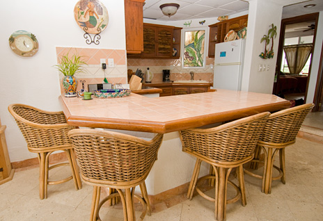 kitchen of playa caribe #7, akumal vacation rental condo