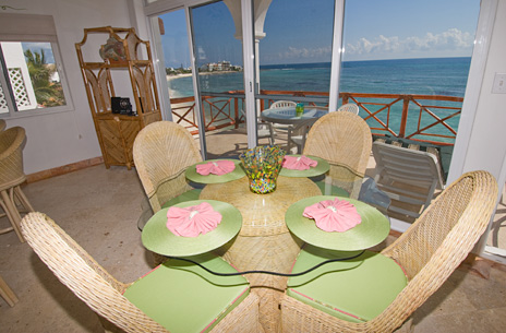 Dining room of Playa Caribe #8, Akumal vacation rental condo on Half Moon Bay