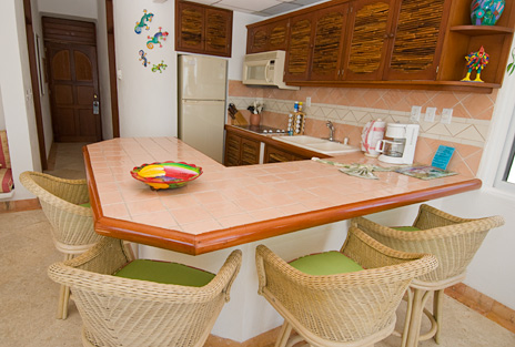 Kitchen of Playa Caribe #8, Akumal vacation rental condo on Half Moon Bay